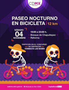 Paseo nocturno en bicicleta, día de Muertos